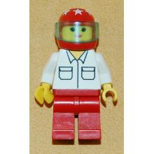 rac010 - Shirt with 2 Pockets, Red Legs, Red Helmet 7 White Stars, Trans-Light Blue Visor