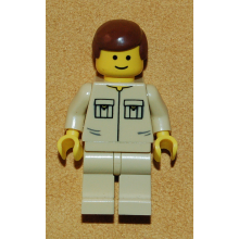 twn030 - Shirt with 2 Pockets No Collar, Tan Legs, Reddish Brown Male Hair