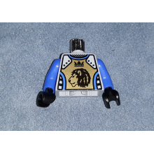 973pb0346c02 - Light Bluish Gray Torso Castle Knights Kingdom II Lion with Crown Pattern / Blue Arms / Black Hands