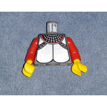 973px115c01 - Dark Gray Torso Castle Knights Kingdom Plate Armor Silver Pattern / Red Arms / Yellow Hands