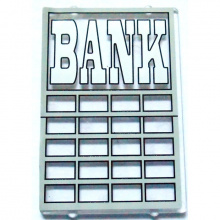 2494pb01 - Glass for Window 1 x 4 x 5 with White 'BANK' Pattern (Sticker)