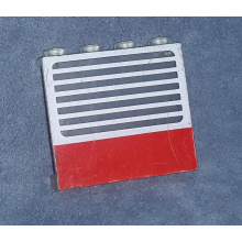 4215ap01 - Trans-Clear Panel 1 x 4 x 3 - Solid Studs with Red Stripe and White Stripes Pattern