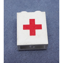 4864ap02 - Panel 1 x 2 x 2 - Solid Studs with Red Cross Pattern