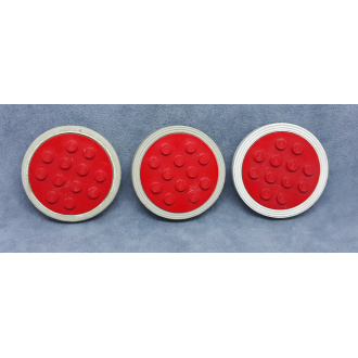 715c02 - Red Wheel Old with 12 Studs, with Light Gray Tire Smooth Old Style - Large (715 / 36)