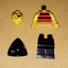 pi025 - Pirate Red / Black Stripes Shirt, Black Legs, Black Pirate Triangle Hat