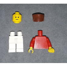 soc118 - Plain Red Torso with Red Arms, White Legs, Reddish Brown Flat Top Hair (Soccer Player)