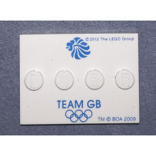 88646pb001 - Tile, Modified 3 x 4 with 4 Studs in Center with 'TEAM GB' and Olympic Rings Pattern