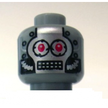 3626bpb0434 - Minifigure, Head Silver Faceplate, Red Eyes and Rectangular Grid Mouth Pattern - Blocked Open Stud