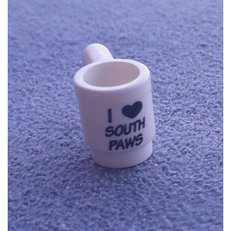 3899pb005 - Minifigure, Utensil Cup with Black 'I' Heart 'SOUTH PAWS' Pattern