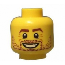 3626bpb0606 - Minifigure, Head Beard Stubble, Brown Eyebrows, White Pupils, Crow's Feet, Open Smile Pattern - Blocked Open Stud