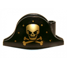 2528pb06 - Minifigure, Headgear Hat, Pirate Bicorne with Gold Skull, Crossbones and Dots Pattern
