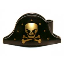 2528pb06 - Minifigure, Headgear Hat, Pirate Bicorne with Gold Skull, Crossbones and Dots Pattern