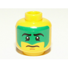 3626bpb0689 - Yellow Minifigure, Head Face Paint with Green War Paint Pattern - Blocked Open Stud