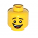 3626cpb1064 - Yellow Minifigure, Head Male Black Eyebrows, Open Mouth Smile with Dimples, White Teeth and Red Tongue