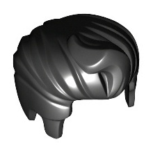 98371 - Black Minifigure, Hair Swept Back with Forelock