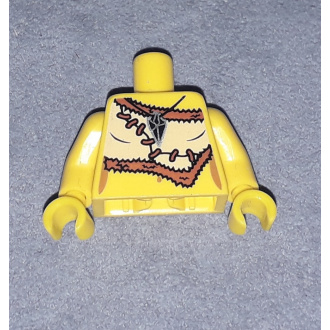 973pb0933c01 - Yellow Torso Female Animal Skin Top with Black and Silver Amulet Pattern / Yellow Arms / Yellow Hands