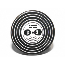 4150pb109 - Black Tile, Round 2 x 2 with Vinyl Record with Black Heads with Glasses Pattern