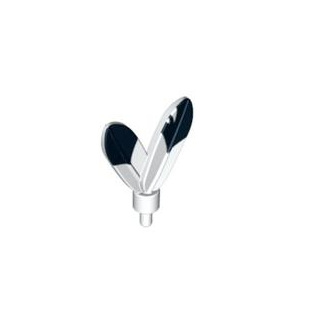 30126pb02 - White Minifigure, Plume Feathers with Pin with Black Tips on 1 Side Pattern