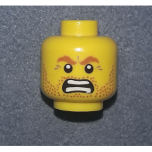 3626bpb0677 - Yellow Minifigure, Head Beard Stubble, Brown Angry Eyebrows and Open Angry Mouth Pattern - Blocked Open Stud