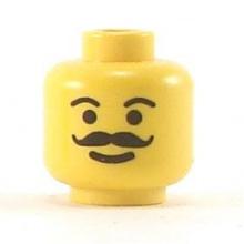 3626bpb0083 - Minifigure, Head Moustache Curly and Full, Plain Eyebrows Pattern - Blocked Open Stud