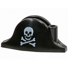 2528pb01 - Minifigure, Headgear Hat, Pirate Bicorne with Small Skull and Crossbones Pattern
