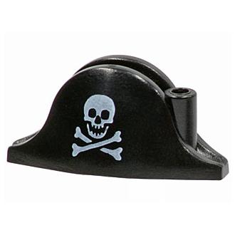 2528pb01 - Minifigure, Headgear Hat, Pirate Bicorne with Small Skull and Crossbones Pattern