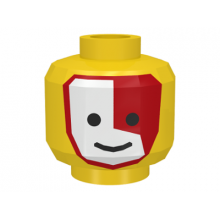 3626bp3j - Yellow Minifigure, Head Face Paint Islander with Red and White War Paint Pattern - Blocked Open Stud
