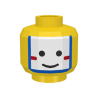 3626bp3k - Yellow Minifigure, Head Face Paint Islander with White and Blue War Paint Pattern - Blocked Open Stud