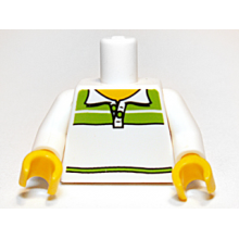 973pb1090c01 - White Torso Male Tennis Shirt with Lime Pattern / White Arms / Yellow Hands