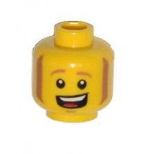 3626cpb1074 - Minifigure, Head Sideburns and Open Mouth Smile with Teeth and Tongue Pattern - Hollow Stud