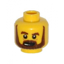 3626cpb1082 - Minifigure, Head Beard Brown, Bushy Eyebrows, Lines under Eyes, Open Mouth Pattern - Hollow Stud