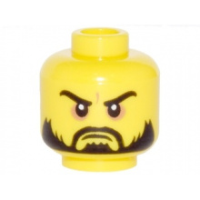 3626cpb0978 - Minifigure, Head Beard Black, Moustache, Arched Eyebrows, White Pupils, Grim Mouth Pattern - Hollow Stud