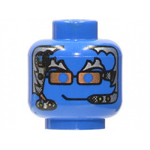 3626bpx139 - Minifigure, Head Alien with Silver Hair, Copper Glasses and Headset Pattern - Blocked Open Stud