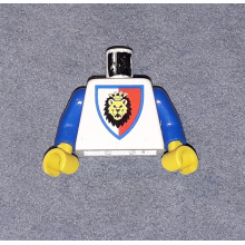 973p4dc02 - Torso Castle Royal Knights Lion Head on Red/White Shield Pattern / Blue Arms / Yellow Hands