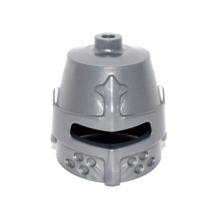 89520 - Metallic Silver Minifigure, Headgear Helmet Castle Closed with Eye Slit