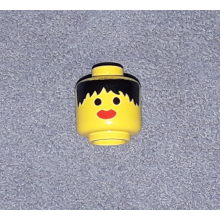 3626apx2 - Minifigure, Head Female with Messy Black Hair, Thick Red Lips Pattern - Solid Stud