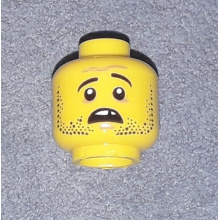3626cpb0996 - Minifigure, Head Dual Sided Beard Stubble, Missing Tooth, Open Grin / Frown Pattern - Hollow Stud