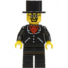 adv038 - Lord Sam Sinister - Suit with 3 Buttons Black - Black Legs, Top Hat