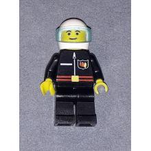 firec010 - Fire - Flame Badge and Straight Line, Black Legs, White Helmet, Trans-Light Blue Visor
