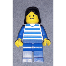 hor002 - Horizontal Lines Blue - Blue Arms - Blue Legs, Black Female Hair
