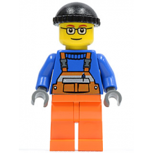 cty0428 - Overalls with Safety Stripe Orange, Orange Legs, Black Knit Cap, Glasses (Crane Operator)
