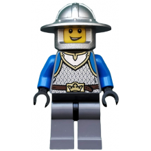 cas517 - Castle - King's Knight Scale Mail, Crown Belt, Helmet with Broad Brim, Open Grin