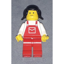 ovr009 - Overalls Red with Pocket, Red Legs, Black Pigtails Hair