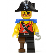pi023 - Pirate Shirt with Knife, Black Leg with Peg Leg, Black Pirate Hat with Skull, Blue Epaulettes