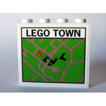 4215pb057 - Panel 1 x 4 x 3 with Map Street Pattern 6 'LEGO TOWN' (Sticker) - Set 10184