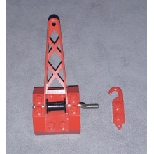 bb0072c01 - String Reel Winch 4 x 4 x 2 with Sloped Top, Metal Handle, Black Drum and Crane Arm Complete