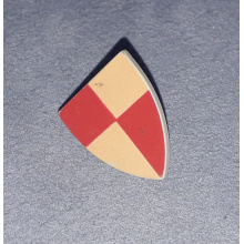 3846px2 - Minifigure, Shield Triangular with Red and Peach Quarters Pattern, Style 1