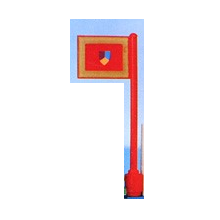 3596px1 - Flag on Flagpole, Straight with Knight's Tournament Pattern (Printed)