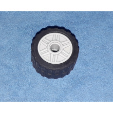 55981c01 - Wheel 18mm D. x 14mm with Pin Hole, Fake Bolts and Shallow Spokes with Black Tire 24 x 14 Shallow Tread