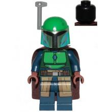sw1078 - Mandalorian Tribe Warrior - Female, Dark Brown Cape, Green Helmet with Antenna / Rangefinder